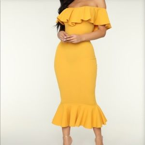 Mustard Yellow Midi Dress